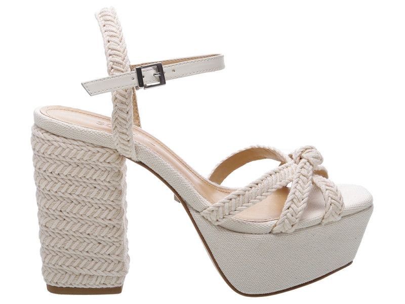 O handmade na sandália branca meia pata