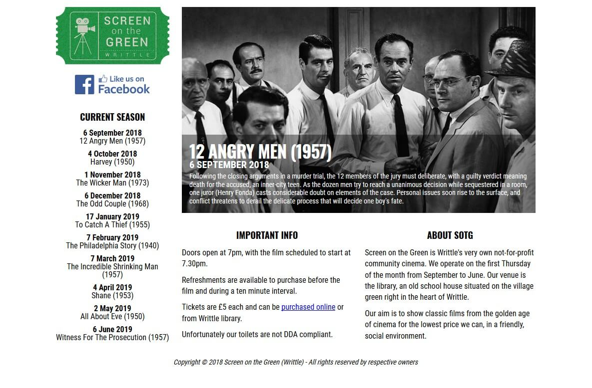 screenshot of screen on the green website