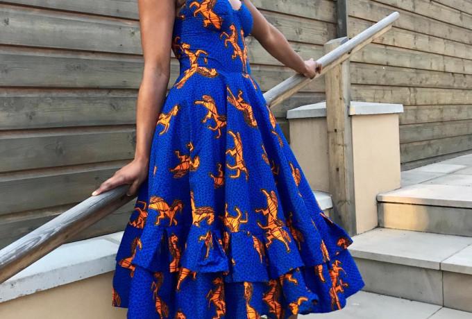 Blue Ankara Evening Dress