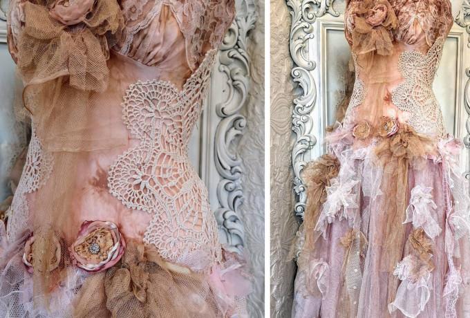 Boho wedding dress rose, bridal gown rose
