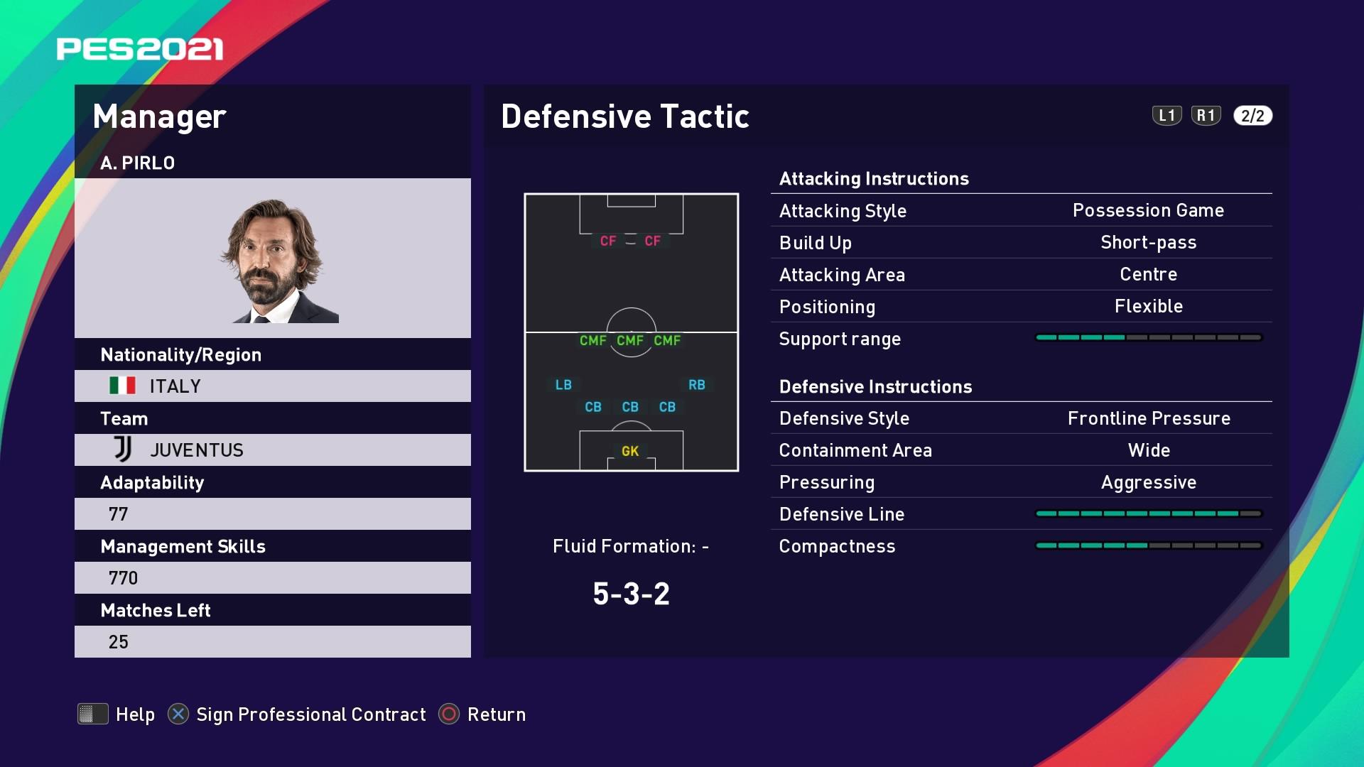 A. Pirlo (2) (Andrea Pirlo) Defensive Tactic in PES 2021 myClub