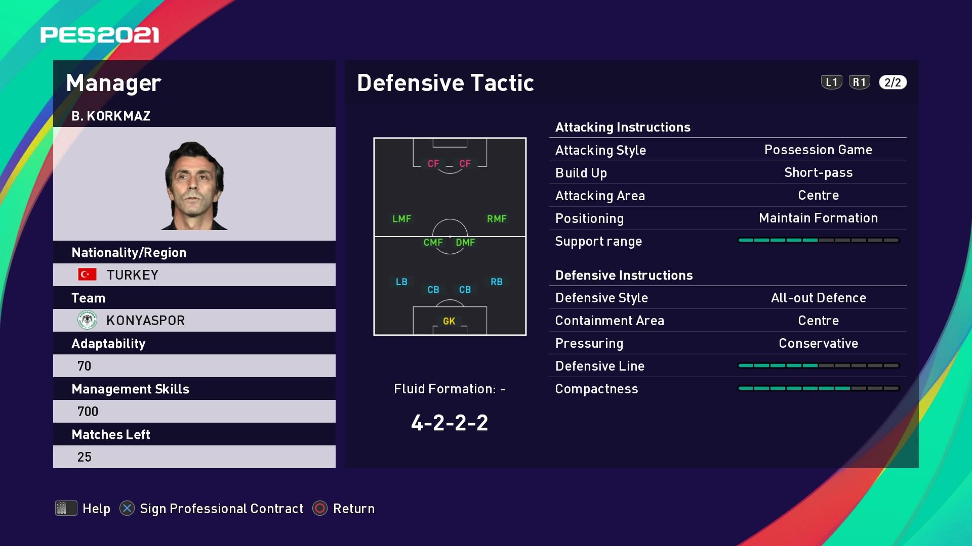 B. Korkmaz (Bülent Korkmaz) Defensive Tactic in PES 2021 myClub