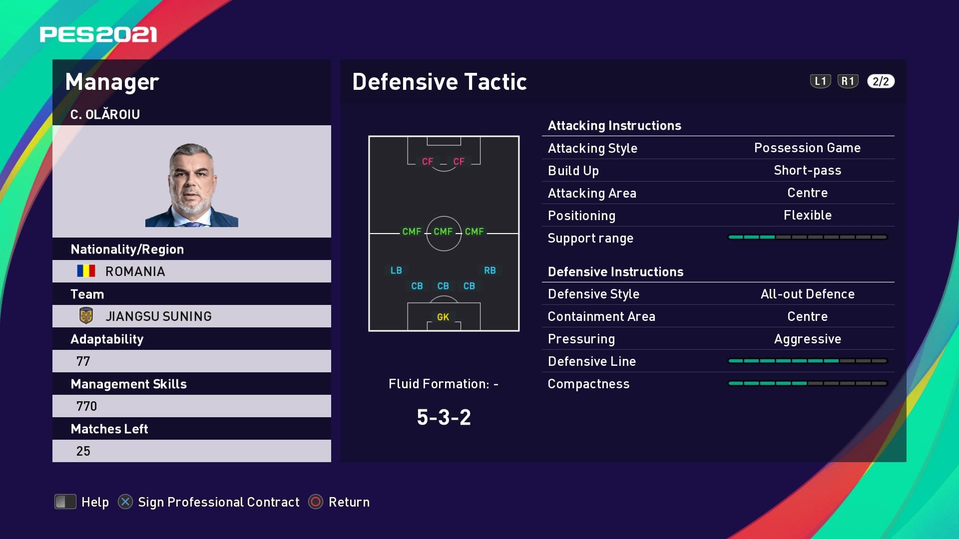 C. Olăroiu (2) (Cosmin Olăroiu) Defensive Tactic in PES 2021 myClub