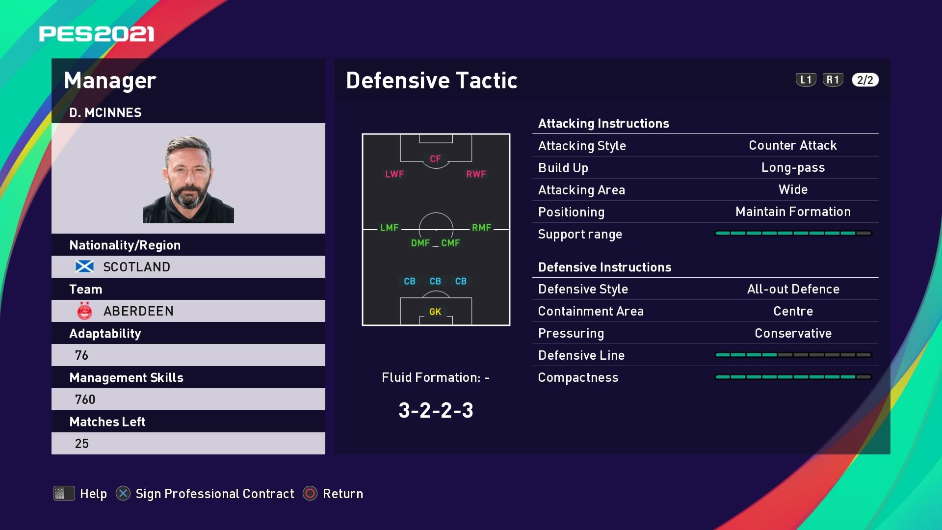 D. McInnes (Derek McInnes) Defensive Tactic in PES 2021 myClub