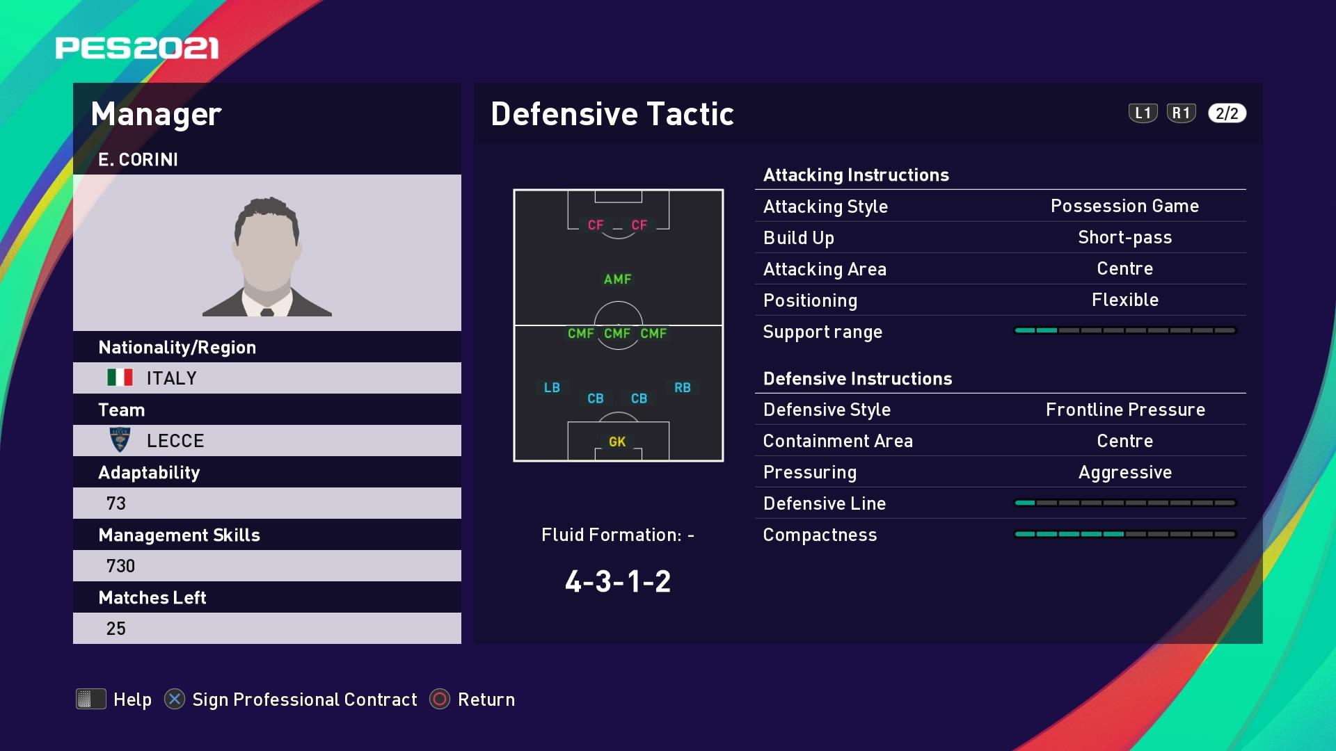 E. Corini (Eugenio Corini) Defensive Tactic in PES 2021 myClub