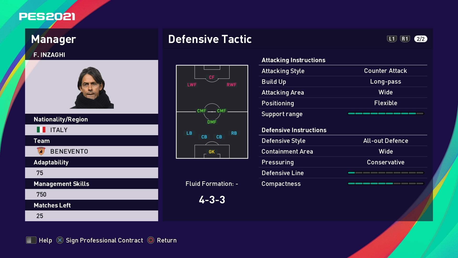 F. Inzaghi (Filippo Inzaghi) Defensive Tactic in PES 2021 myClub