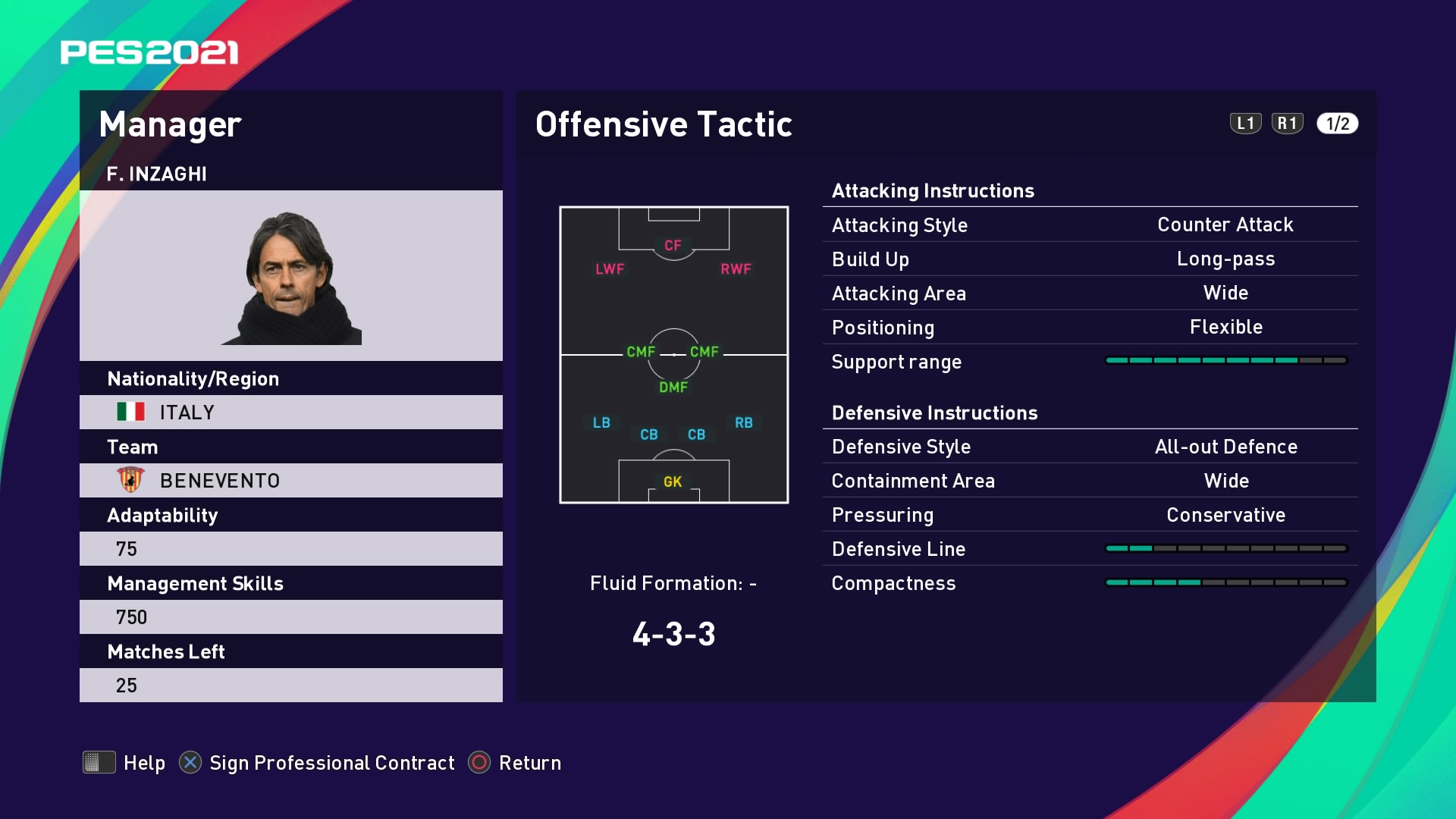 F. Inzaghi (Filippo Inzaghi) Offensive Tactic in PES 2021 myClub