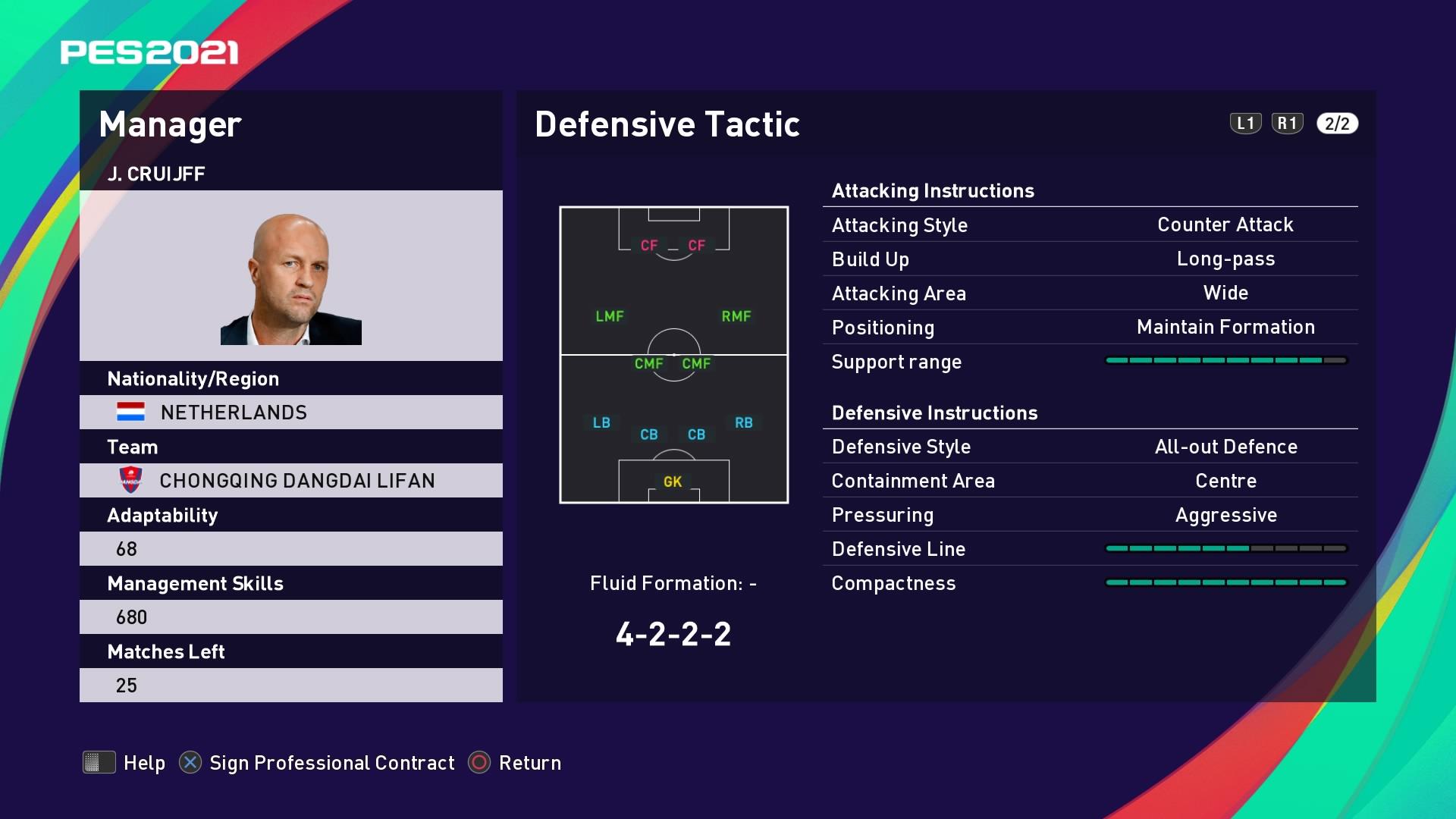 J. Cruijff (Jordi Cruijff) Defensive Tactic in PES 2021 myClub