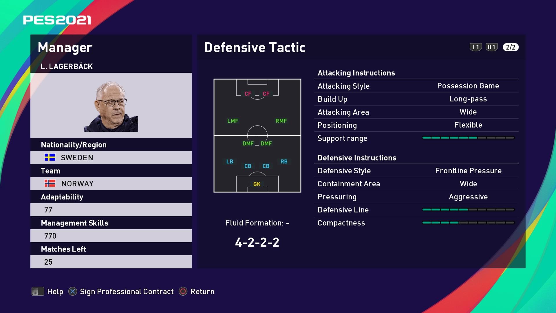 L. Lagerbäck (Lars Lagerbäck) Defensive Tactic in PES 2021 myClub