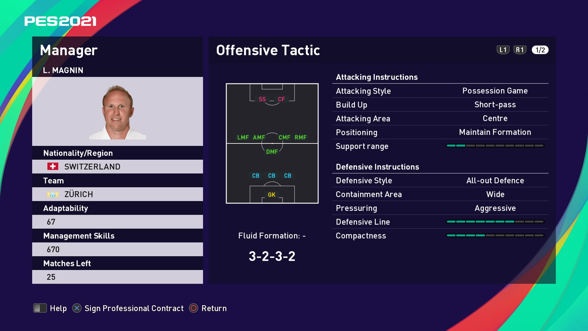 L. Magnin (Ludovic Magnin) Offensive Tactic in PES 2021 myClub