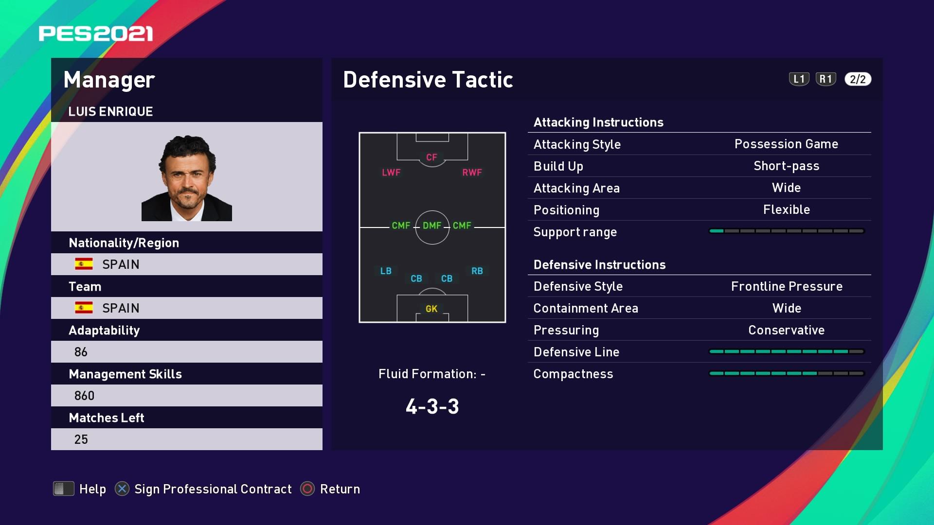 Luis Enrique Defensive Tactic in PES 2021 myClub