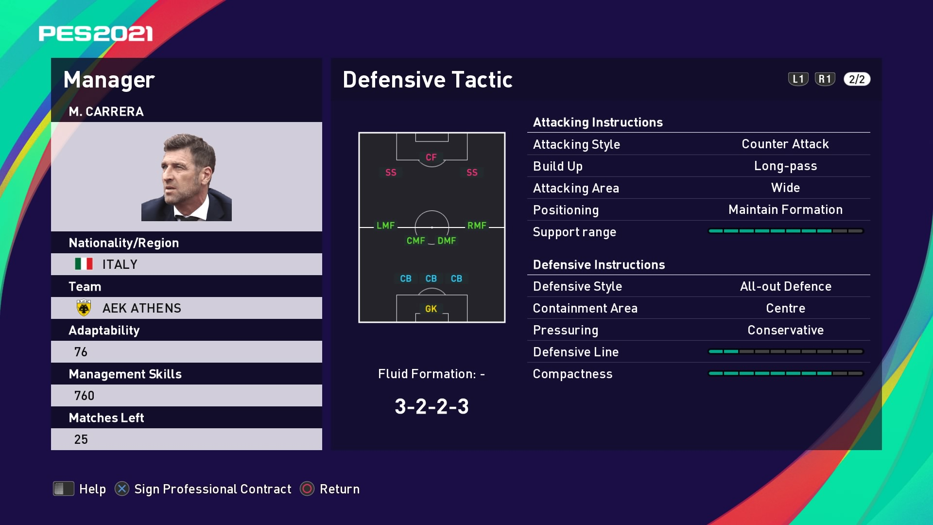 M. Carrera (Massimo Carrera) Defensive Tactic in PES 2021 myClub
