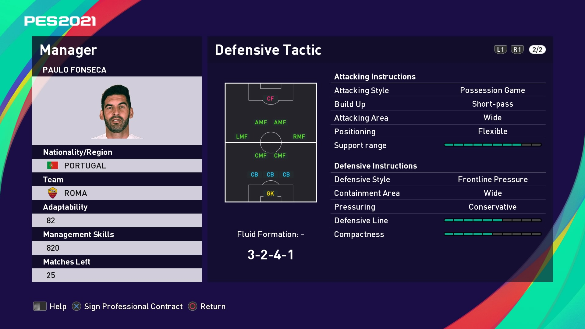 Paulo Fonseca (2) Defensive Tactic in PES 2021 myClub