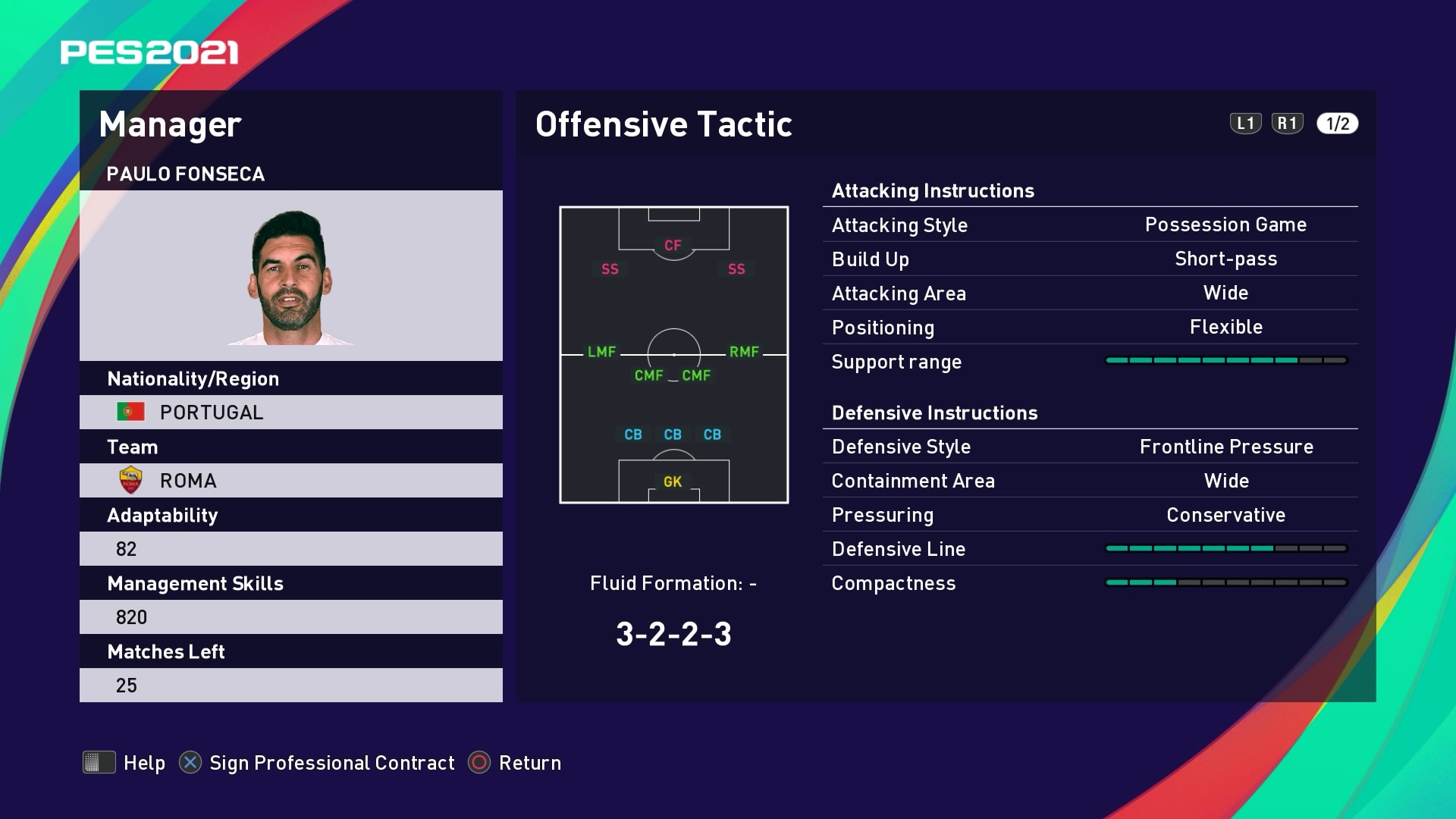 Paulo Fonseca Offensive Tactic in PES 2021 myClub