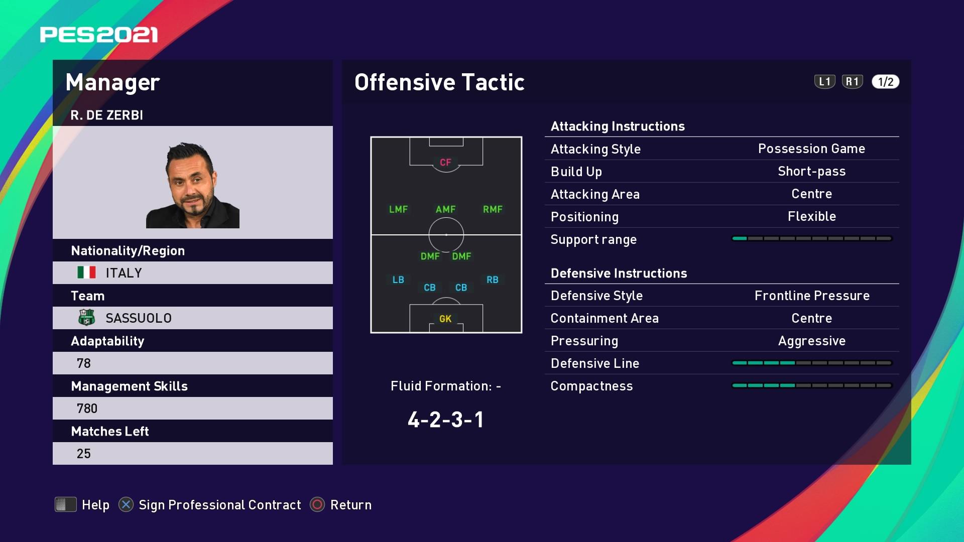 R. de Zerbi (Roberto De Zerbi) Offensive Tactic in PES 2021 myClub