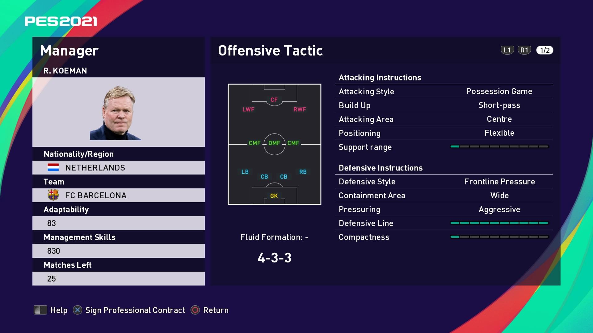 R. Koeman (Ronald Koeman) Offensive Tactic in PES 2021 myClub