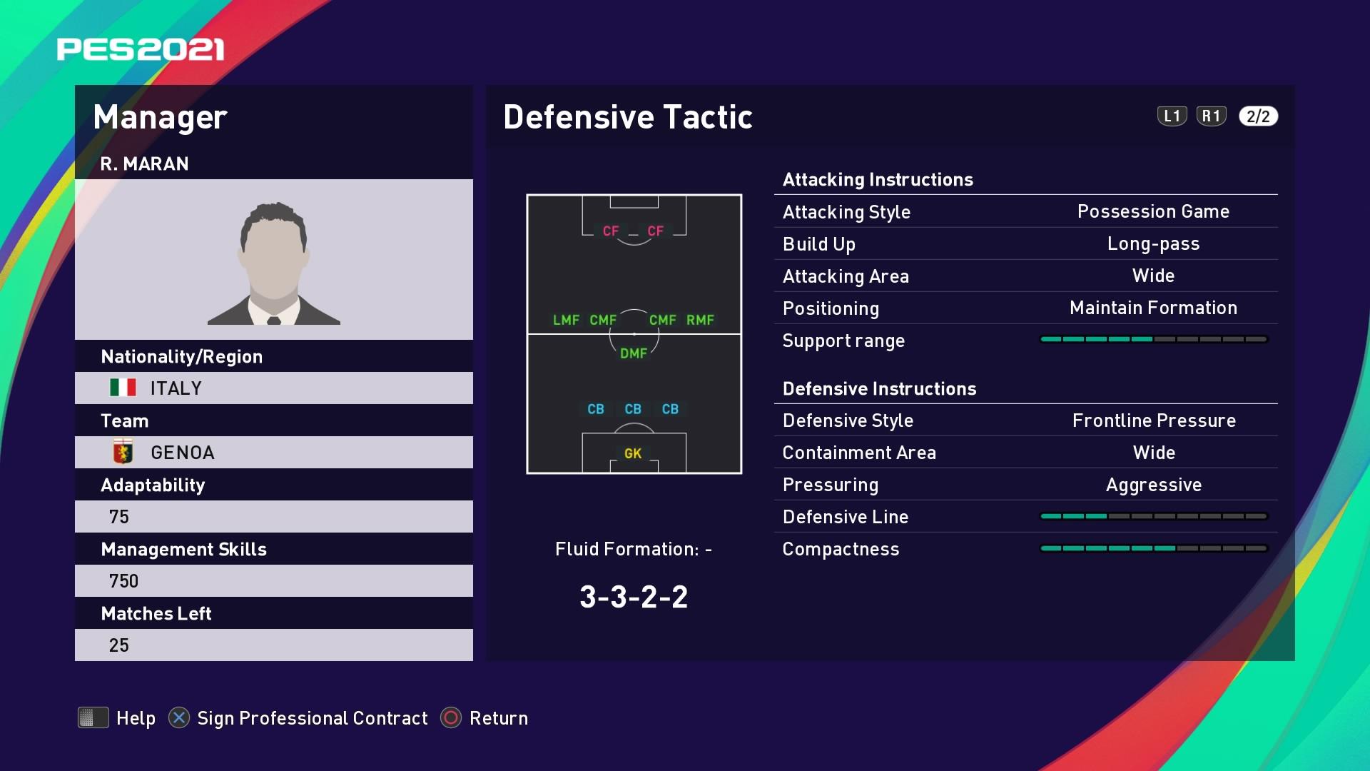 R. Maran (Rolando Maran) Defensive Tactic in PES 2021 myClub