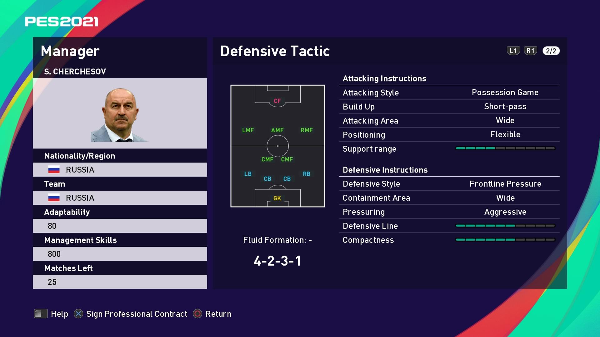 S. Cherchesov (Stanislav Cherchesov) Defensive Tactic in PES 2021 myClub