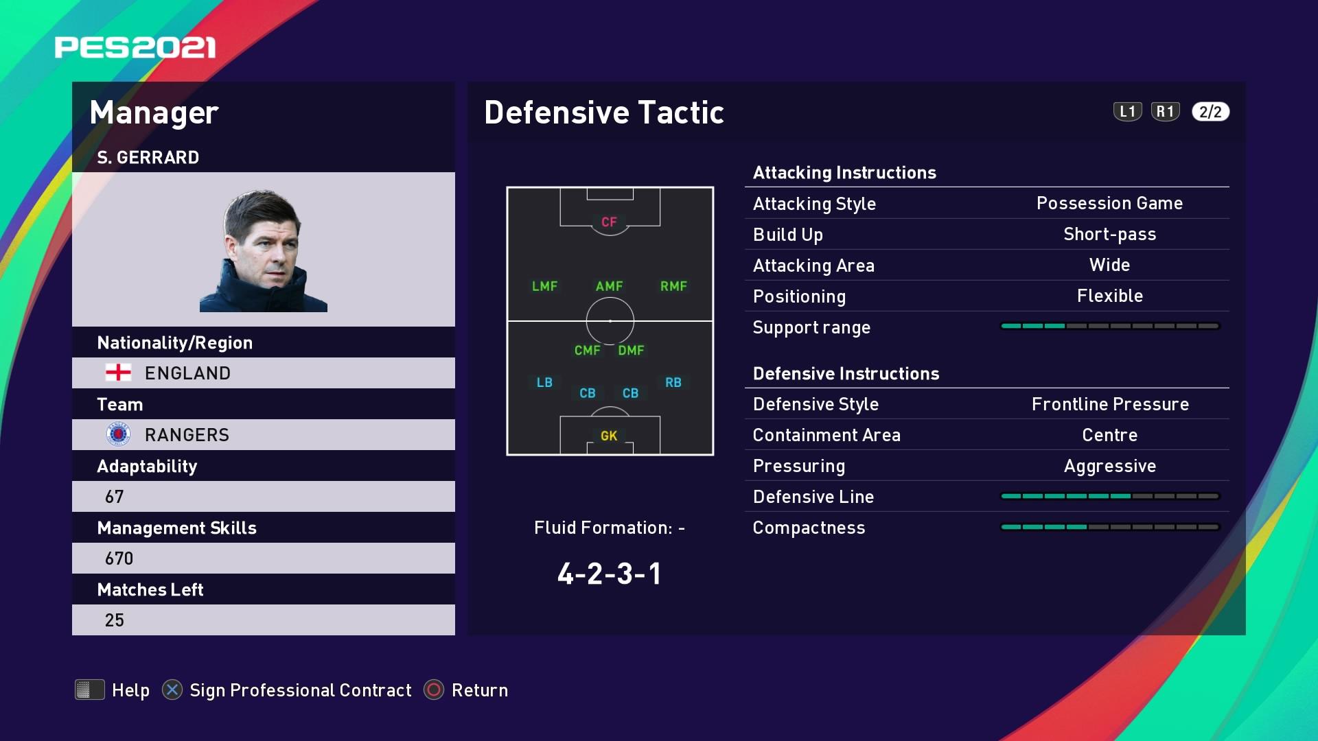 S. Gerrard (Steven Gerrard) Defensive Tactic in PES 2021 myClub