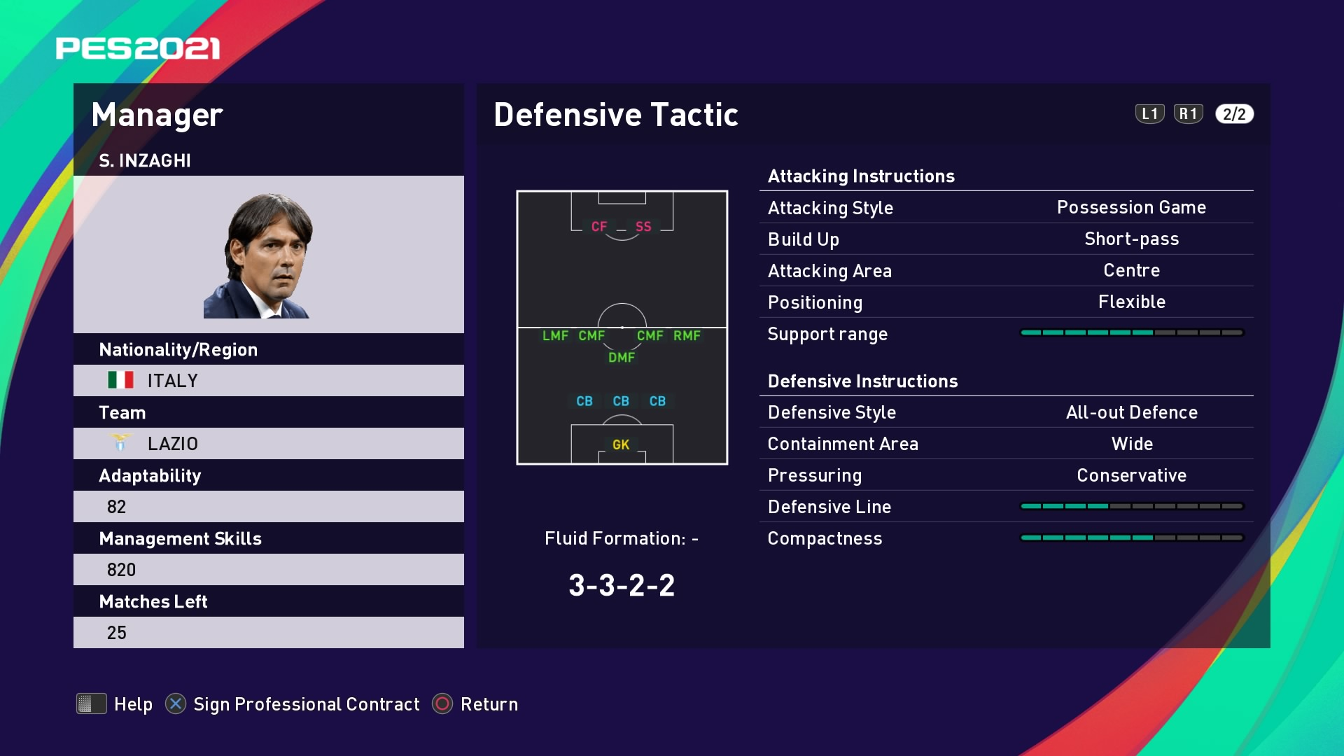 S. Inzaghi (Simone Inzaghi) Defensive Tactic in PES 2021 myClub
