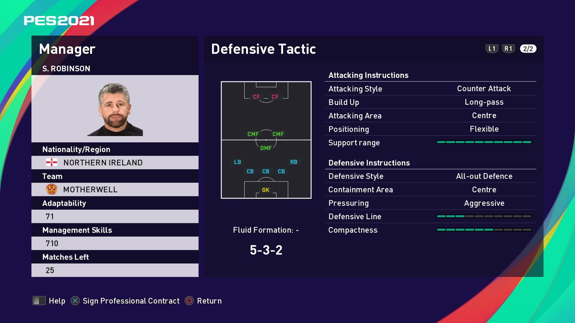 S. Robinson (Steve Robinson) Defensive Tactic in PES 2021 myClub
