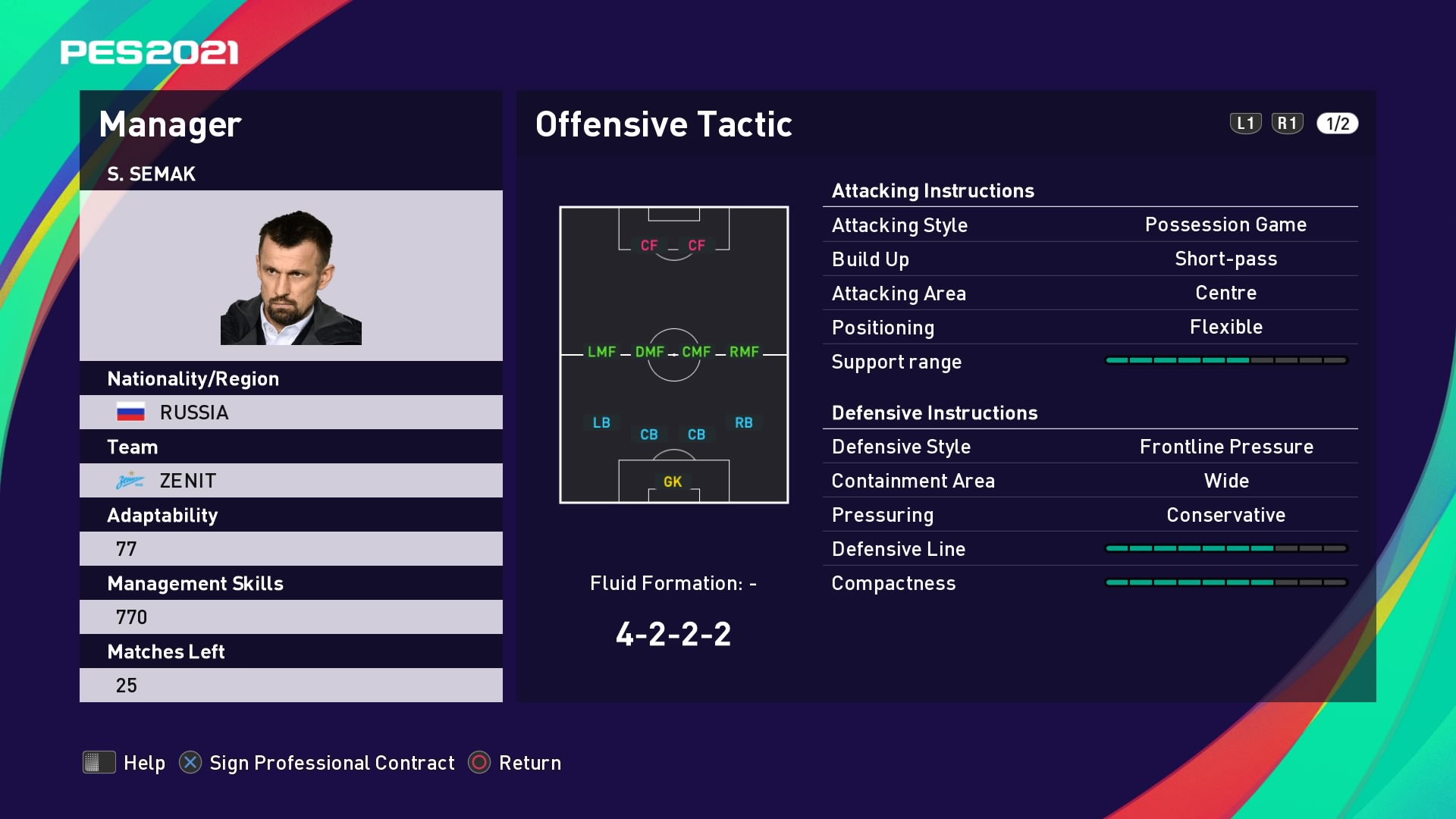 S. Semak (Sergei Semak) Offensive Tactic in PES 2021 myClub