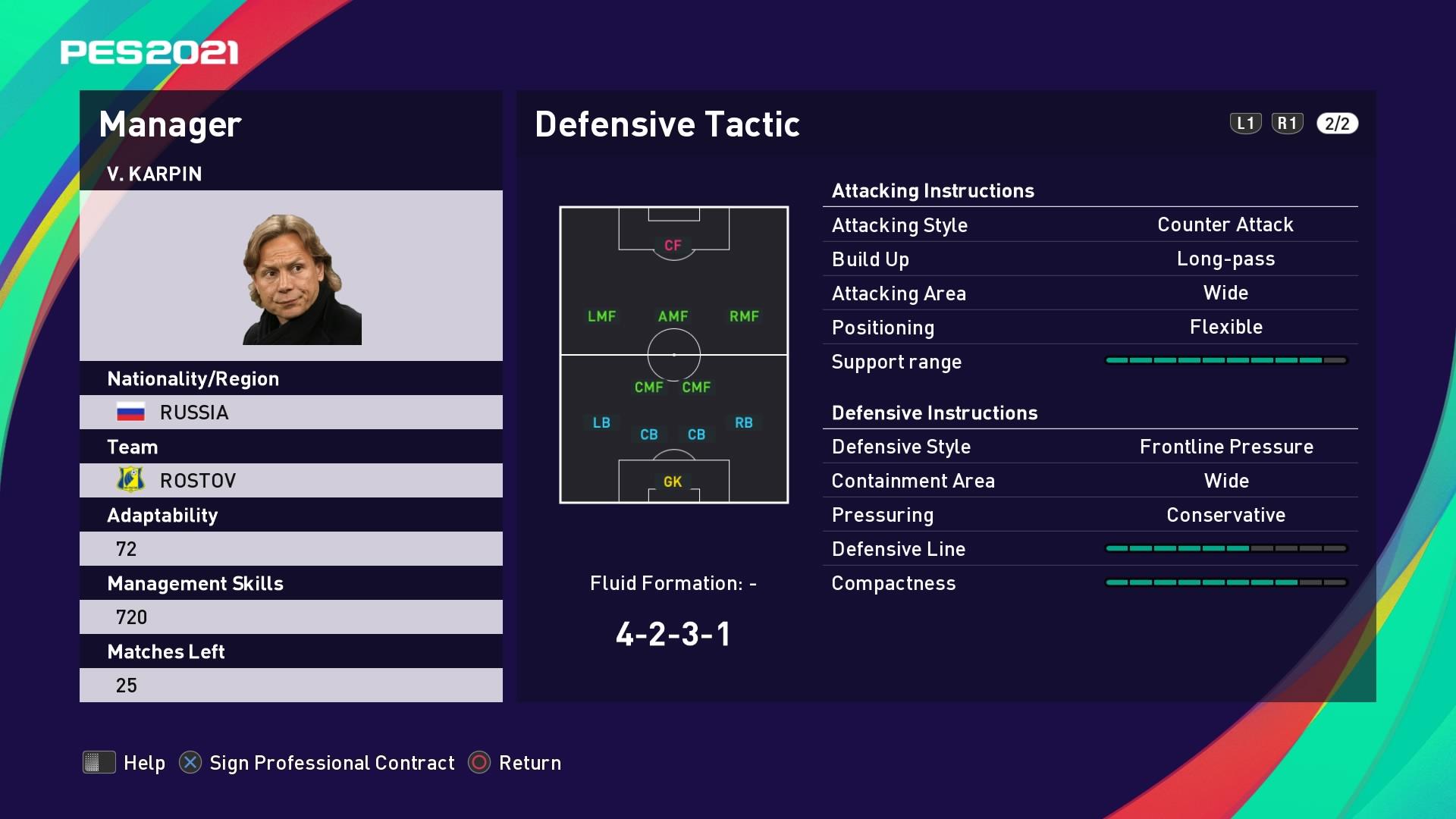 V. Karpin (Valeri Karpin) Defensive Tactic in PES 2021 myClub