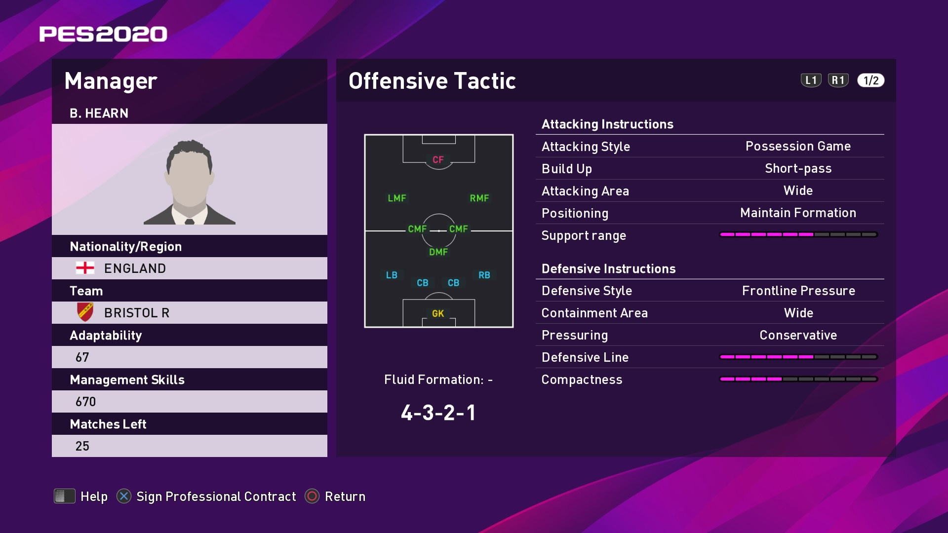 B. Hearn (Lee Johnson) Offensive Tactic in PES 2020 myClub