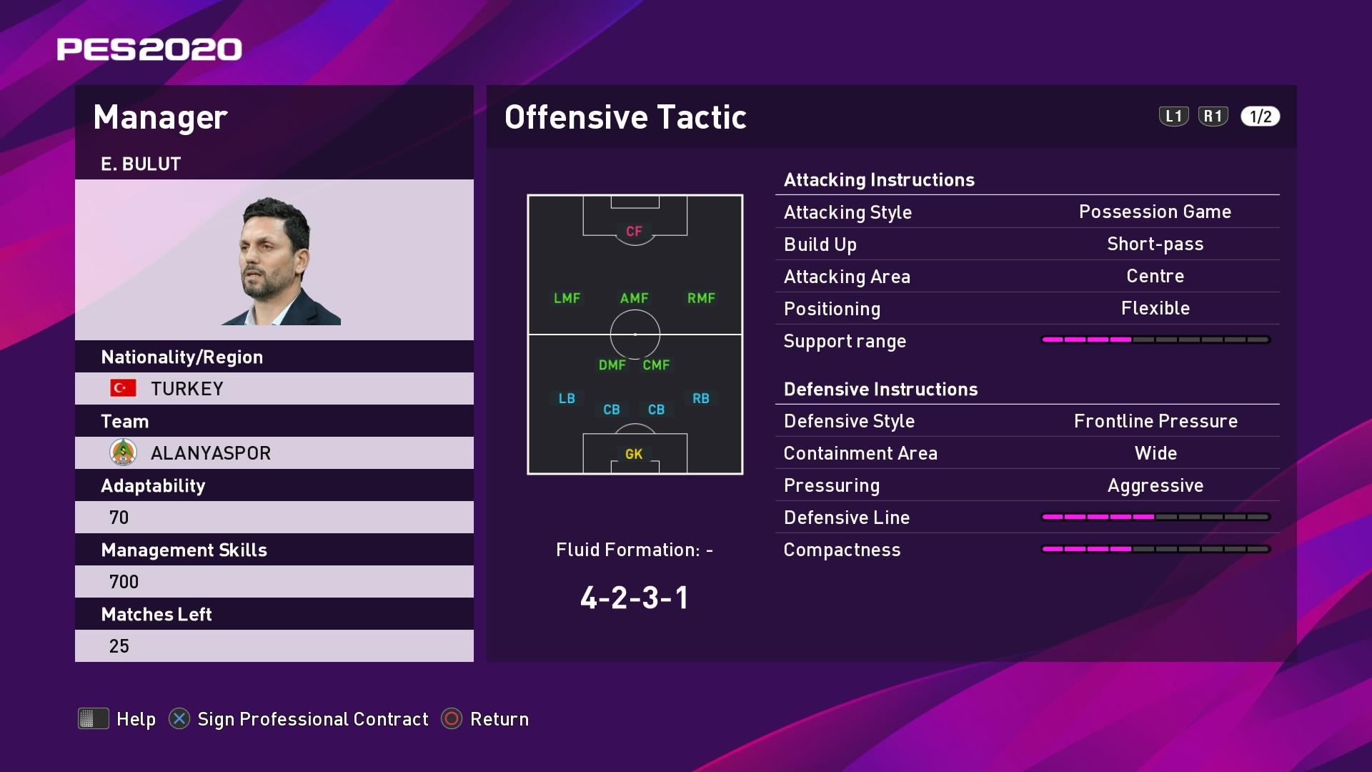 E. Bulut (Erol Bulut) Offensive Tactic in PES 2020 myClub