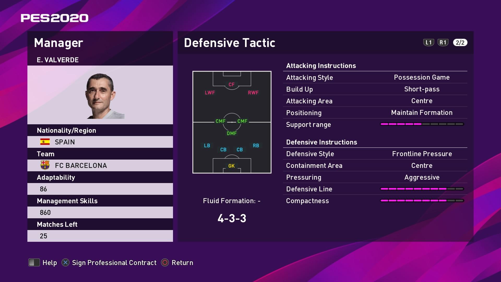 E. Valverde (Ernesto Valverde) Defensive Tactic in PES 2020 myClub