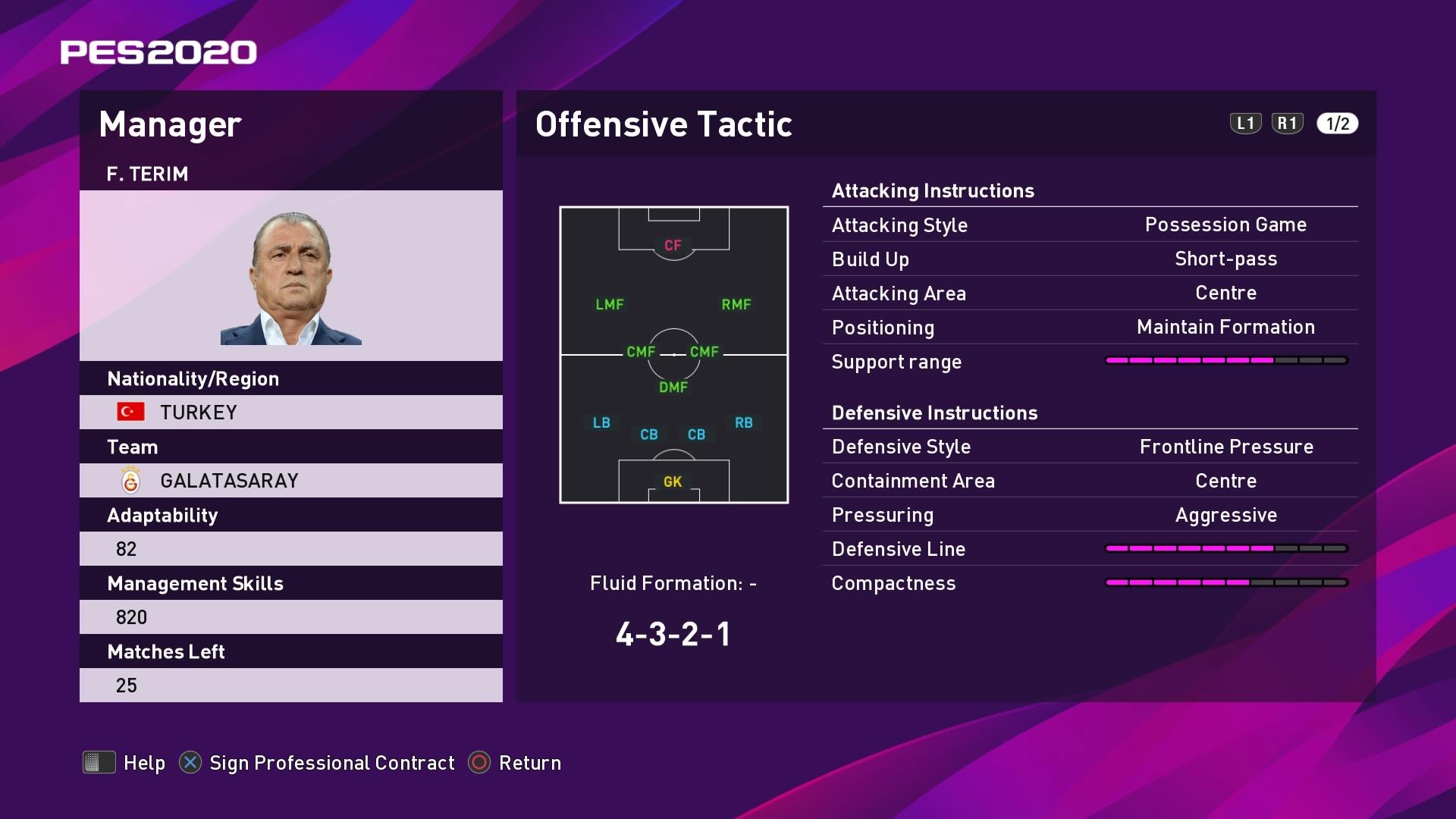 F. Terim (Fatih Terim) Offensive Tactic in PES 2020 myClub