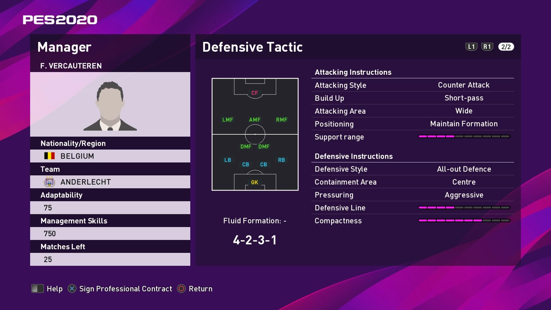 F. Vercauteren (Frank Vercauteren) Defensive Tactic in PES 2020 myClub