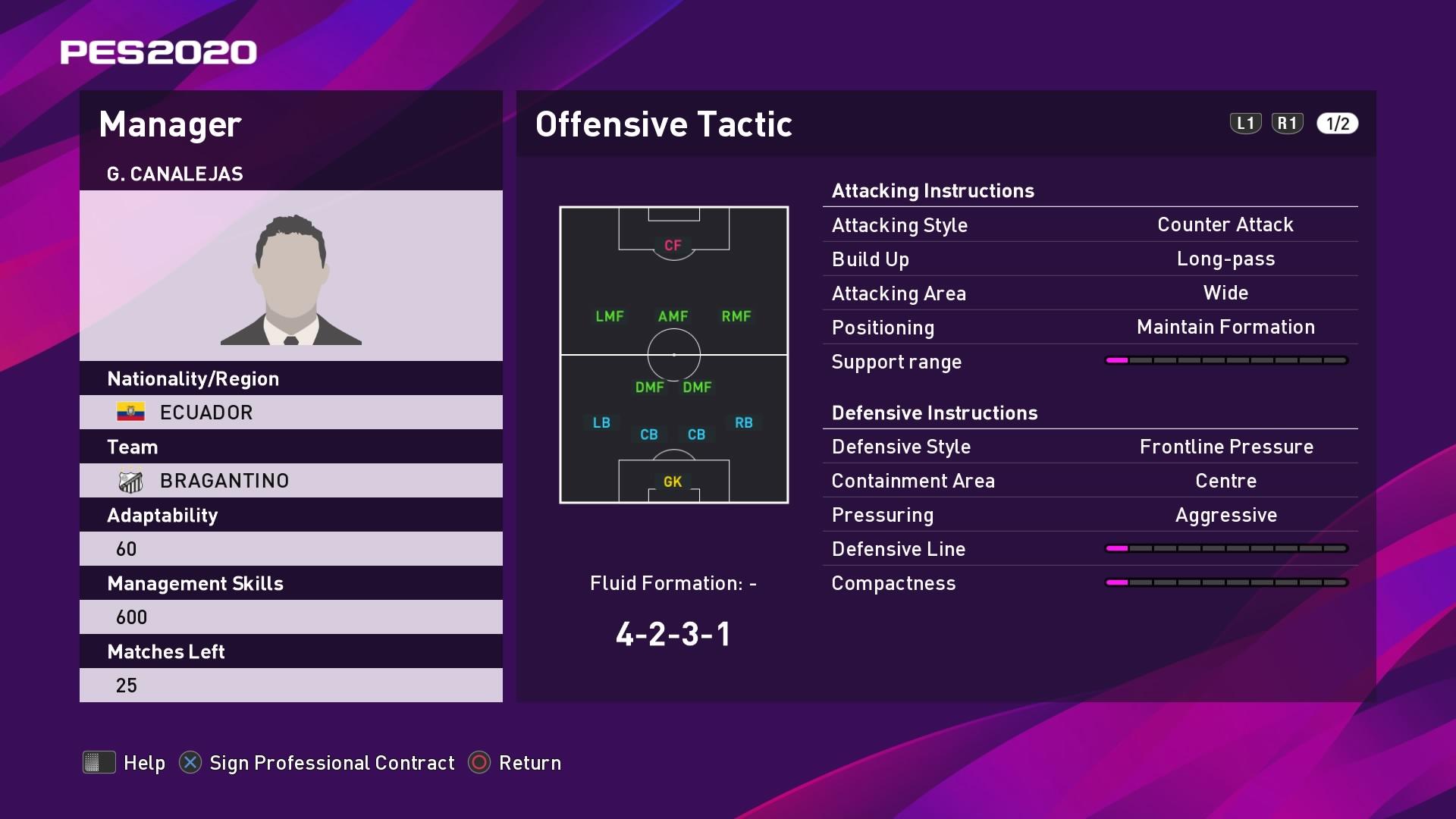 G. Canalejas (Vinicius Munhoz) Offensive Tactic in PES 2020 myClub