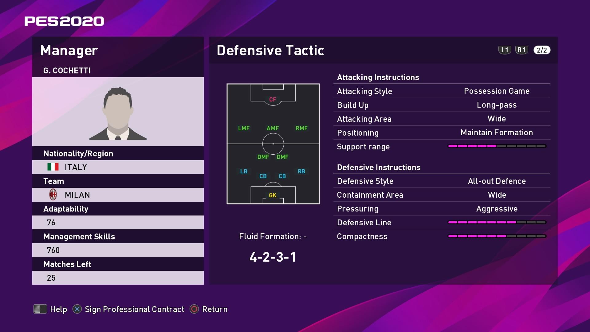 G. Cochetti (Stefano Pioli) Defensive Tactic in PES 2020 myClub