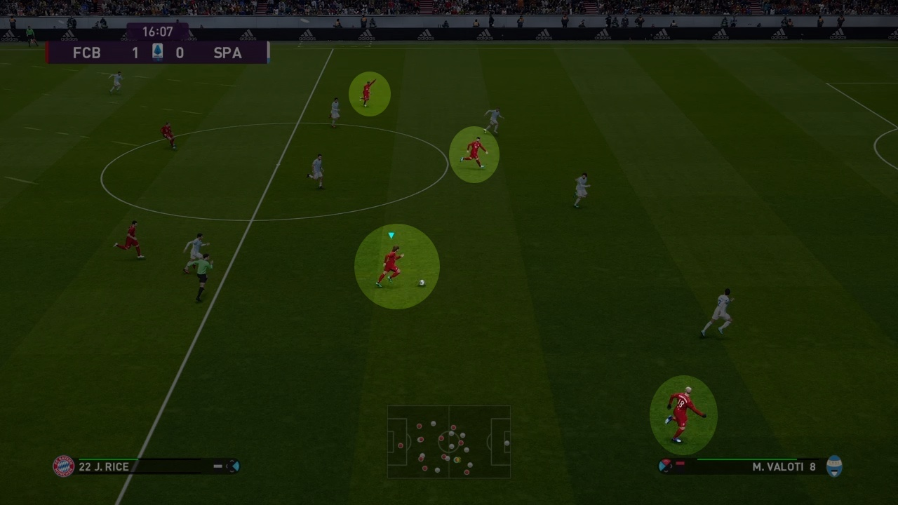 Players asking for the ball in PES