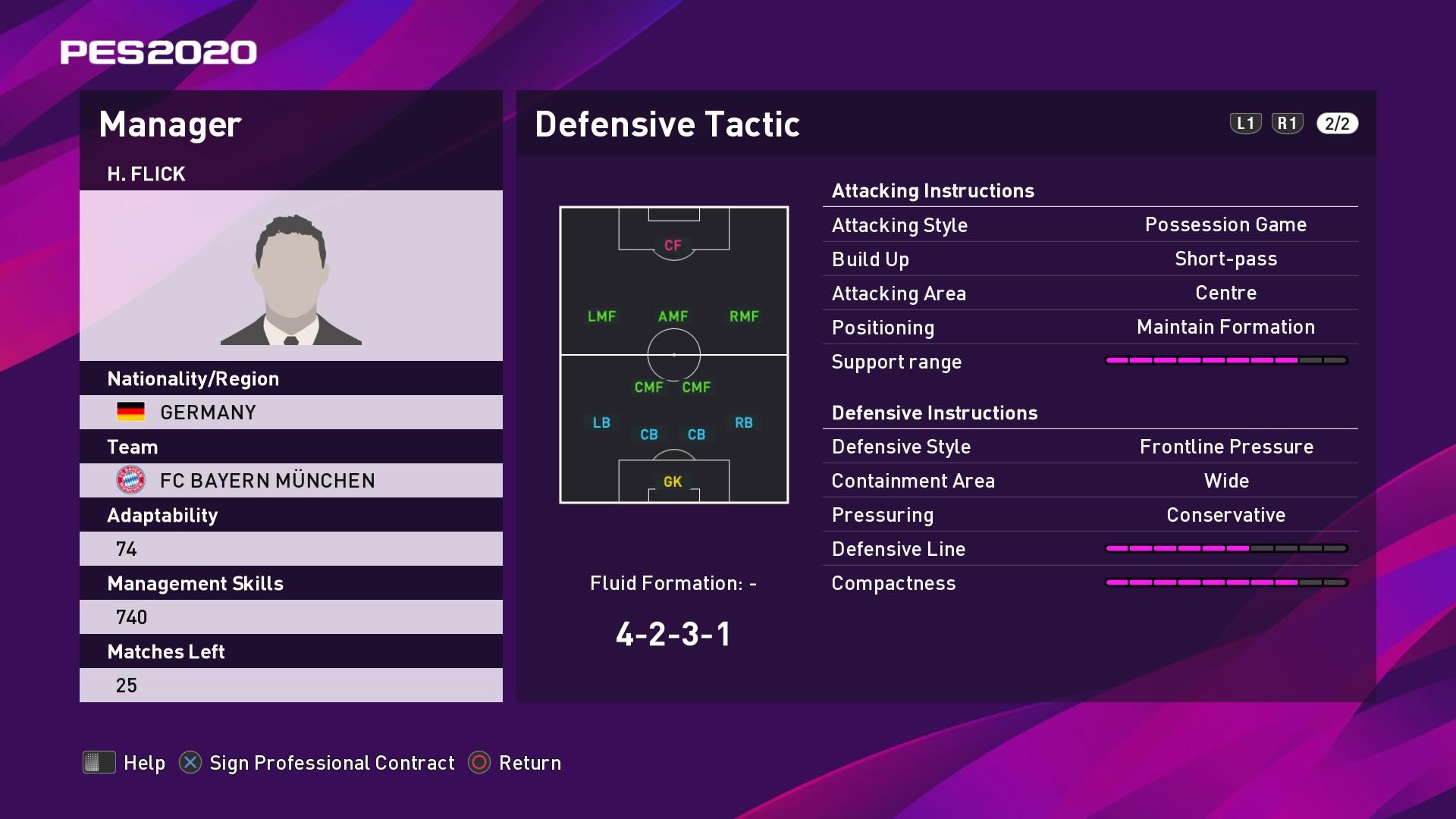 H. Flick (Hans-Dieter Flick) Defensive Tactic in PES 2020 myClub