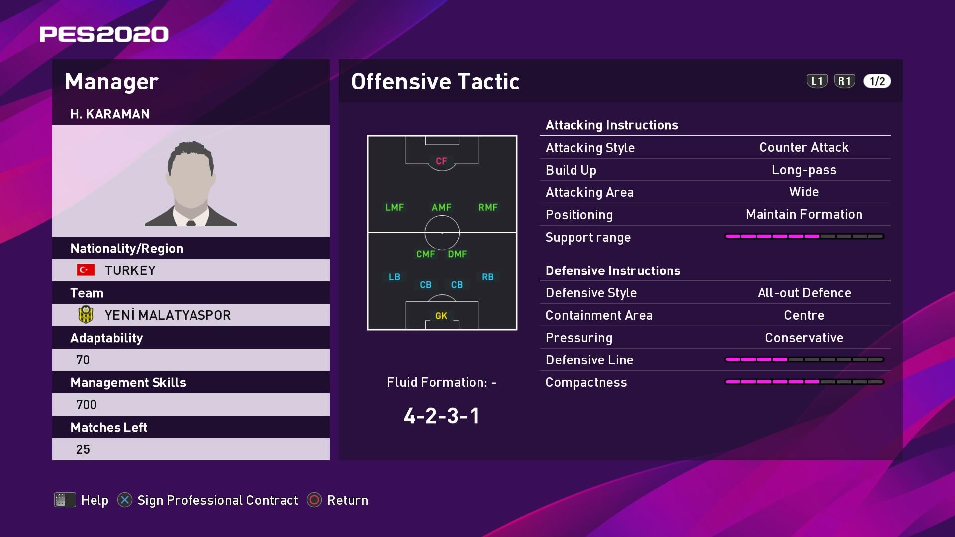 H. Karaman (Hikmet Karaman) Offensive Tactic in PES 2020 myClub