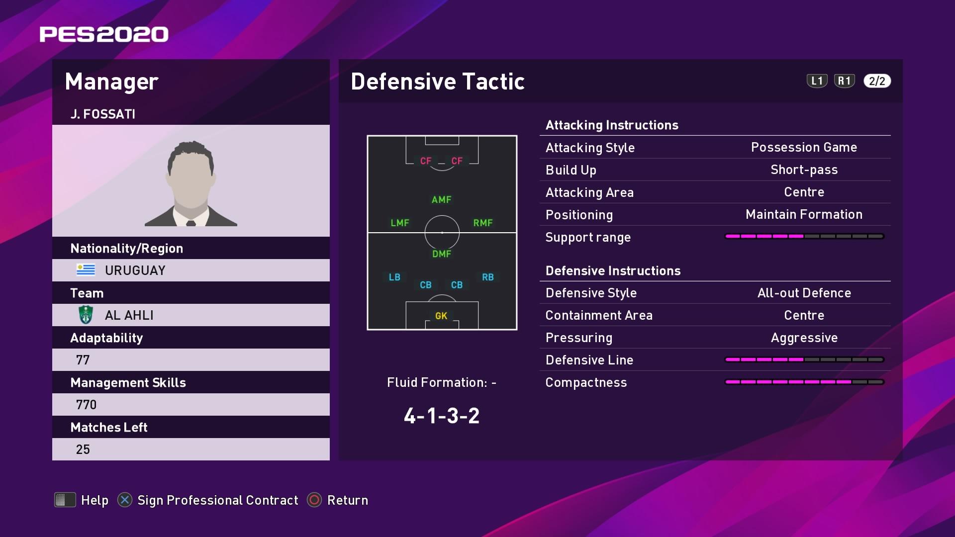 J. Fossati (Jorge Fossati) Defensive Tactic in PES 2020 myClub