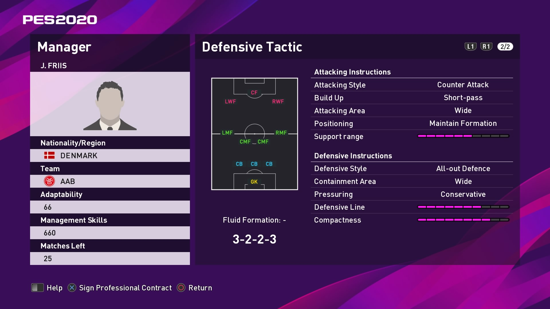 J. Friis (Jacob Friis) Defensive Tactic in PES 2020 myClub