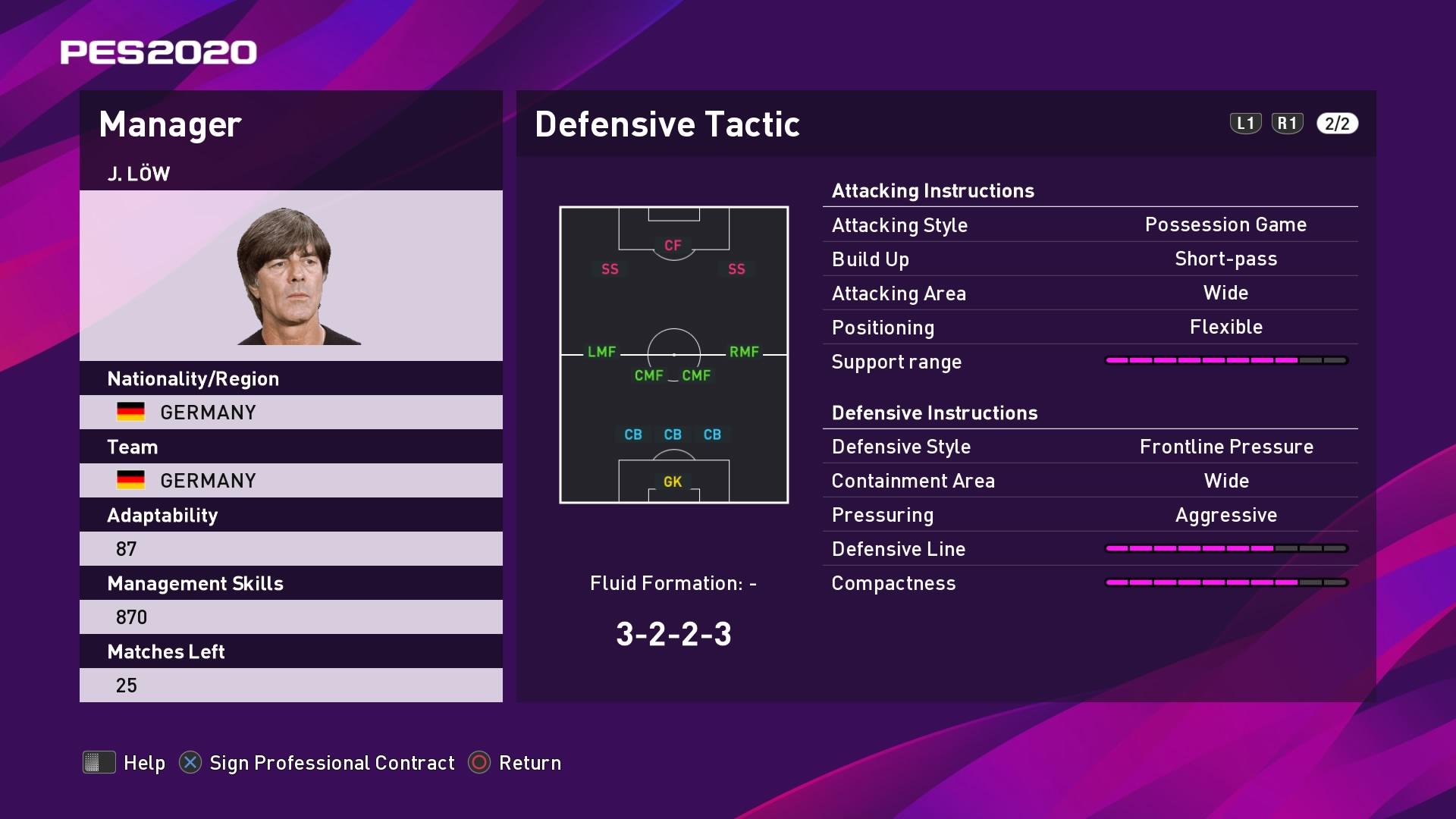 J. Löw (Joachim Löw) Defensive Tactic in PES 2020 myClub