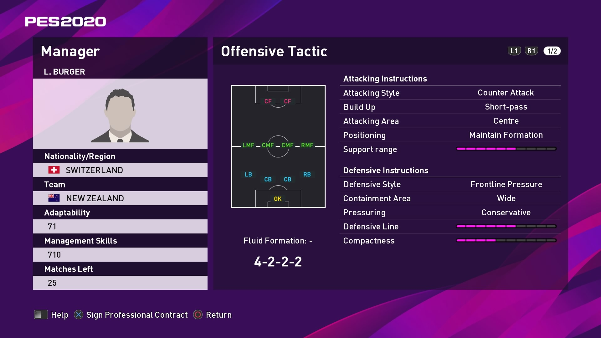 L. Burger Offensive Tactic in PES 2020 myClub