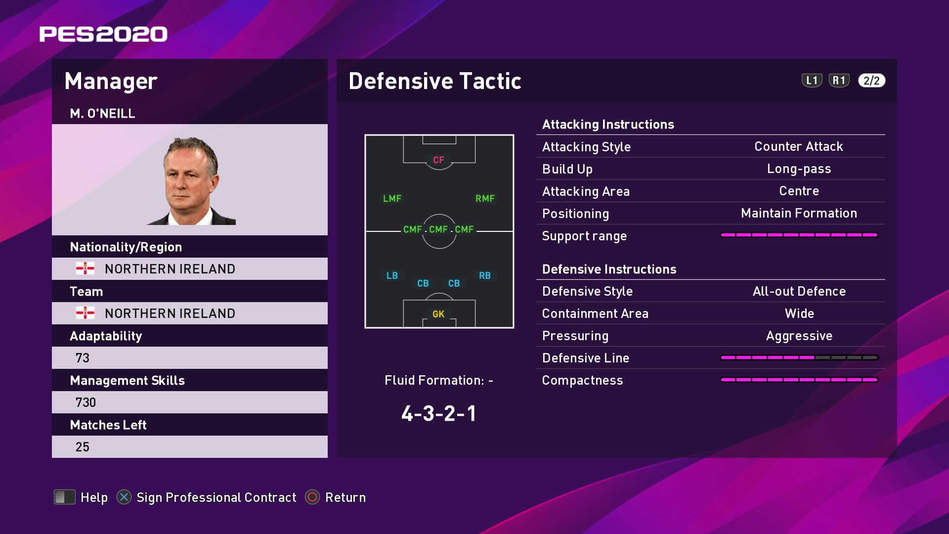 M. O'Neill (2) (Michael O'Neill) Defensive Tactic in PES 2020 myClub