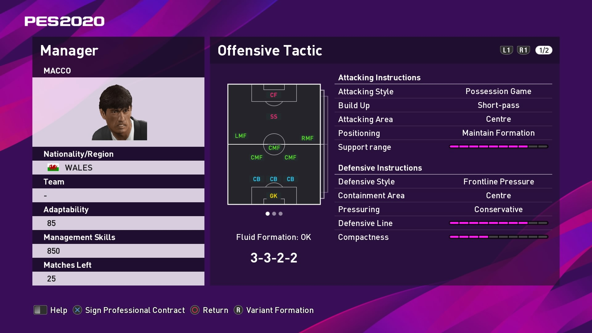Macco Offensive Tactic at Kick-off