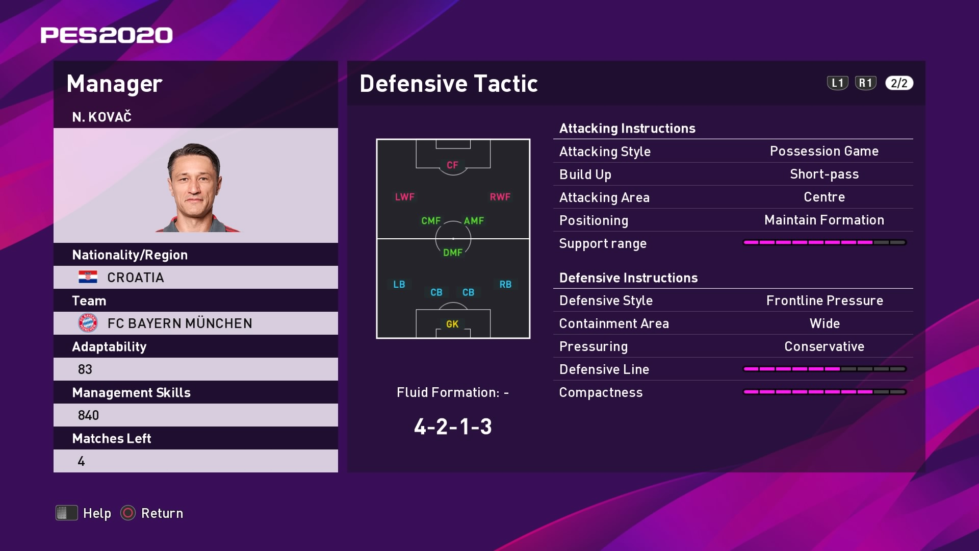 N. Kovač (Niko Kovač) Defensive Tactic in PES 2020 myClub