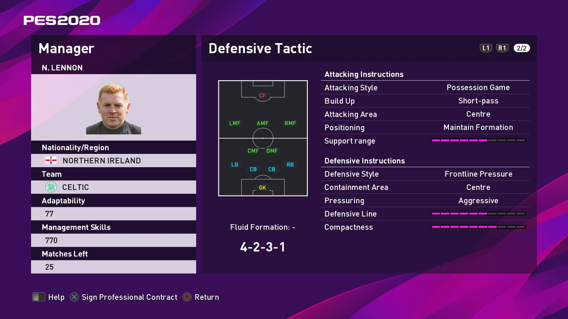 N. Lennon (Neil Lennon) Defensive Tactic in PES 2020 myClub