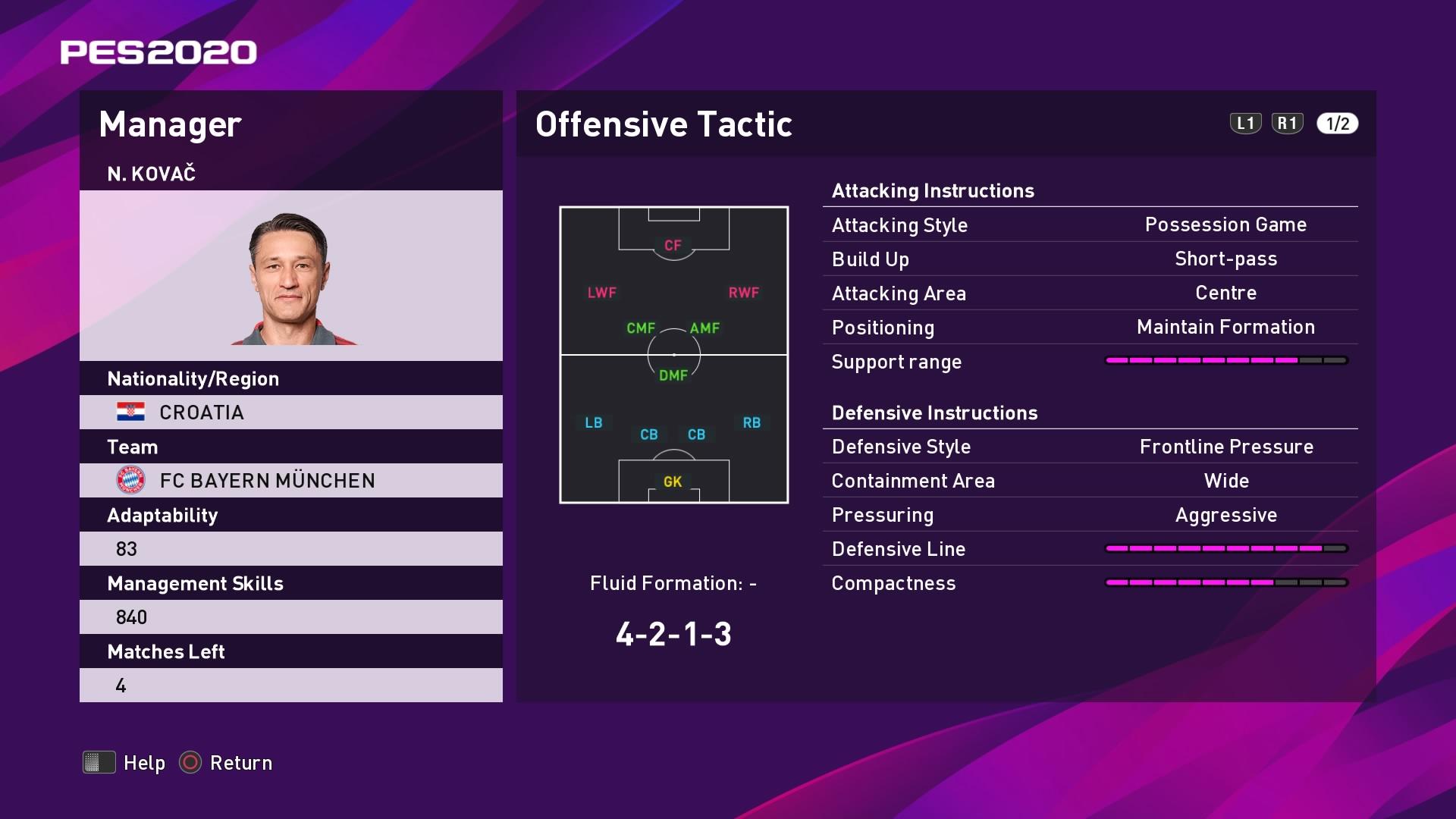 Niko Kovač Offensive Tactic in PES 2020 myClub