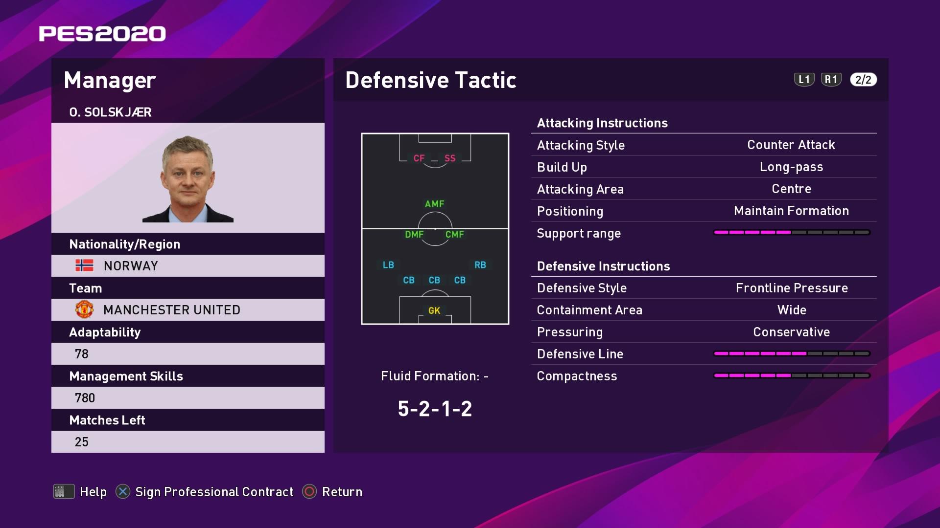 O. Solskjaer (2) (Ole Gunnar Solskjær) Defensive Tactic in PES 2020 myClub