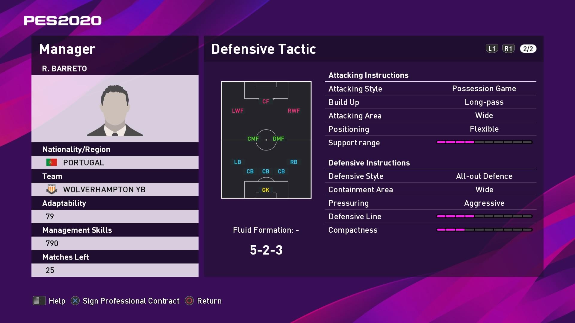 R. Barreto (Nuno Espírito Santo) Defensive Tactic in PES 2020 myClub