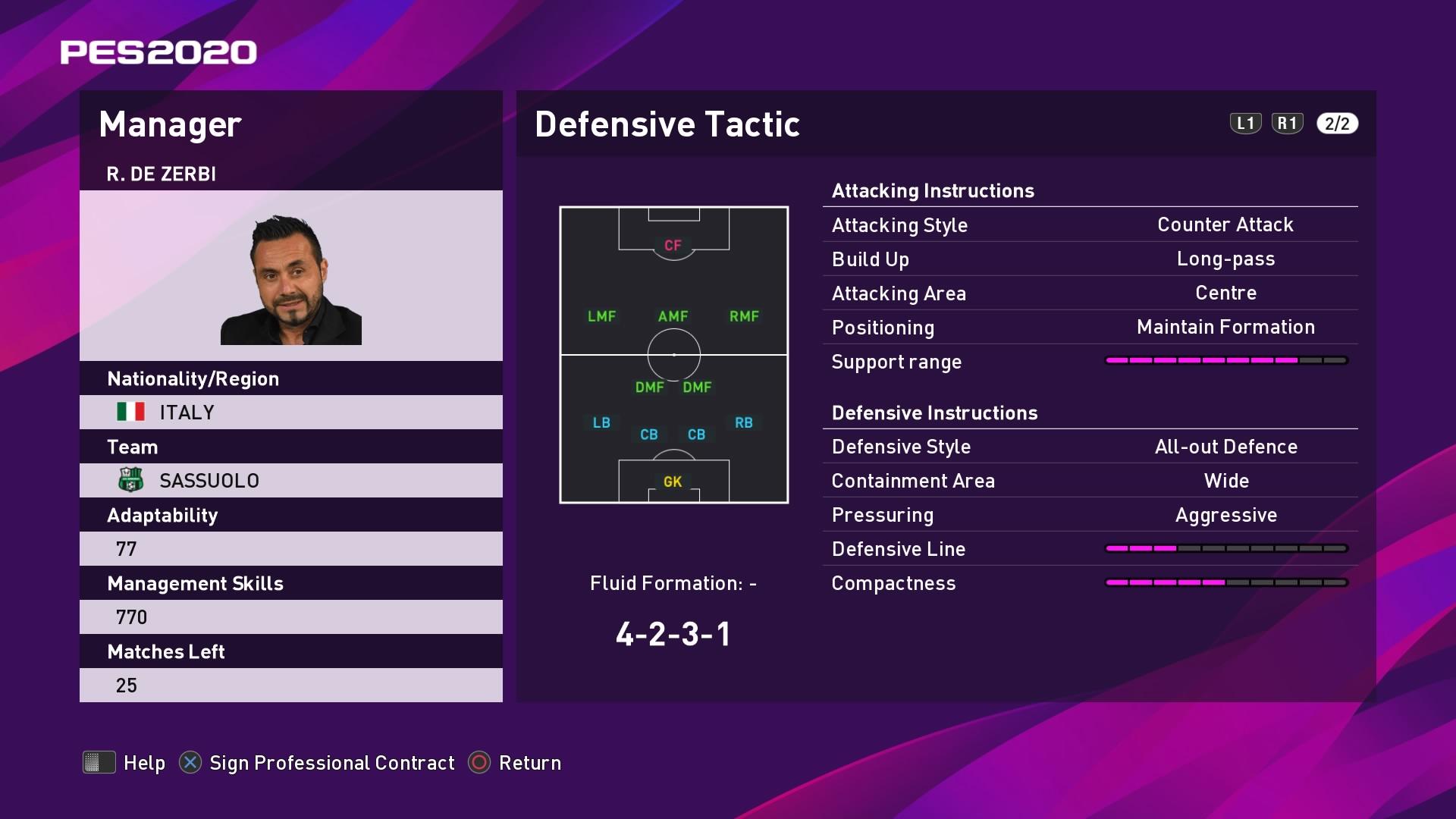 R. De Zerbi (Roberto De Zerbi) Defensive Tactic in PES 2020 myClub