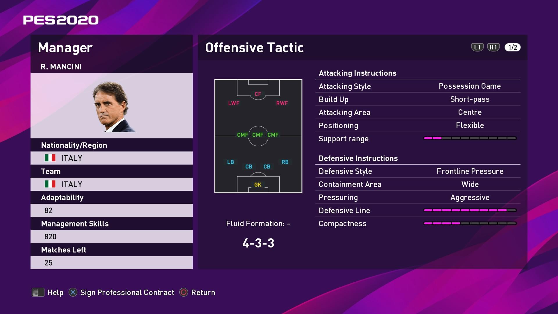 R. Mancini (2) (Roberto Macini) Offensive Tactic in PES 2020 myClub